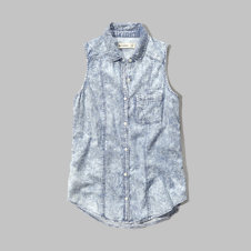 girls sleeveless chambray shirt