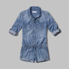 girls long sleeve denim romper