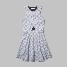girls jacquard cut-out skater dress