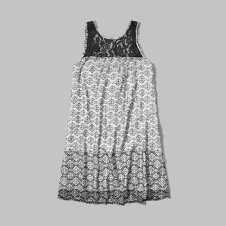 girls pattern lace trim trapeze dress