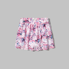 girls floral wrap front drapey shorts
