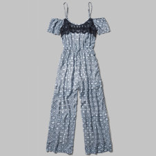 girls patterned cold shoulder jumpsuit