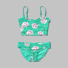 girls floral strappy tankini swimsuit