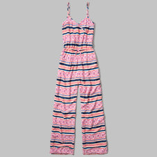 girls patterned cross front jumpsuit