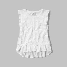 girls lace ruffle tee