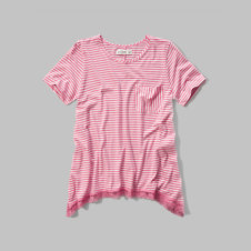 girls lace hem pocket tee