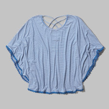 girls striped strappy poncho