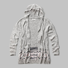 girls patterned hoodie cardigan