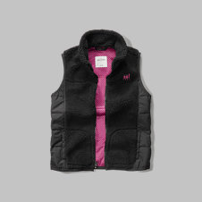 girls quilted sherpa vest