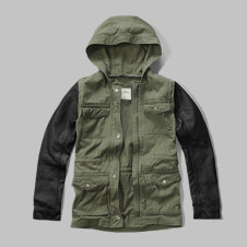 girls faux leather lightweight twill parka