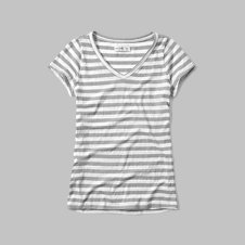 girls striped v neck tee