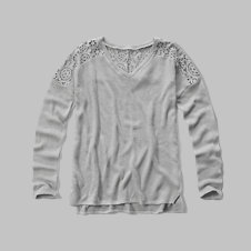 girls lace panel drapey snit tee