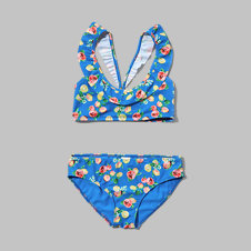 girls ruffle two-piece peasant swimsuit