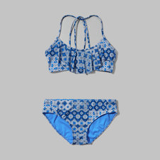 girls strappy ruffle two-piece swimsuit