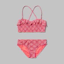 girls ruffle bandeau two-piece swimsuit