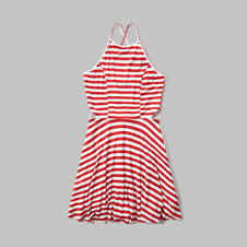 girls striped cutout skater dress