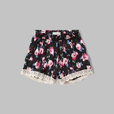 girls patterned lace trim drapey shorts