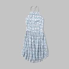 girls patterned high neck dress