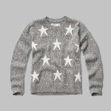 girls patterned crew sweater