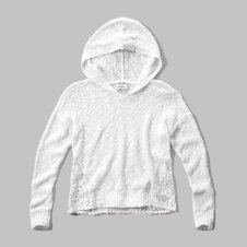 girls lace side hooded sweater