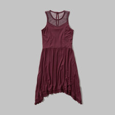 girls lace hem knit dress