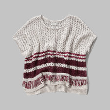 girls patterned poncho sweater