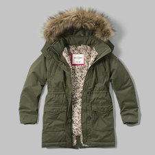 girls faux fur lined parka