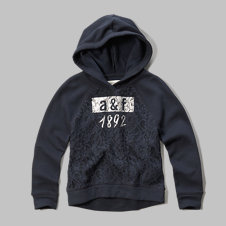 girls lace detailed hoodie