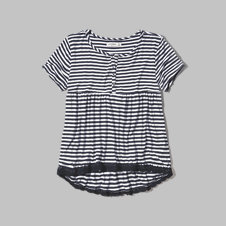 girls lace trim henley tee