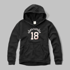 girls shine applique logo graphic hoodie