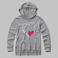 girls sequin graphic hooded tee