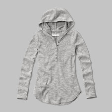 girls lace trim henley hoodie