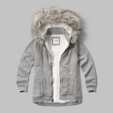 girls sherpa lined fur trim hoodie