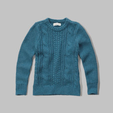 girls cable-knit crew sweater