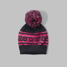 girls shine patterned pom-pom beanie