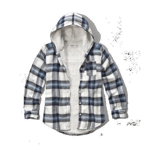 Girls sherpa lined hooded plaid shirt girls clearance for Sherpa lined plaid shirt