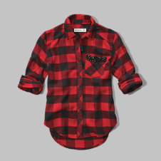 girls plaid sequin-pocket shirt