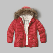 girls sherpa lined puffer jacket