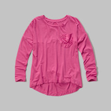 girls lace panel tee