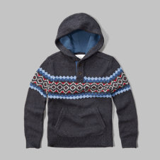 girls patterned henley hooded sweater