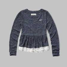 girls lace-hem peplum tee