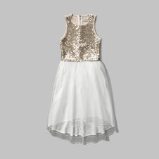 girls embellished mesh dress