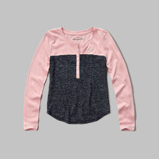 girls colorblock henley