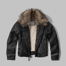 girls sherpa lined faux leather jacket