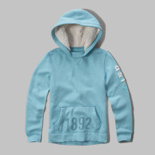 girls sherpa lined logo sweatshirt