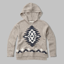 girls patterned hooded sweater
