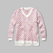 girls patterned v-neck sweater