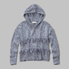 girls fringe hooded sweater
