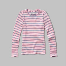 girls shine logo stripe tee