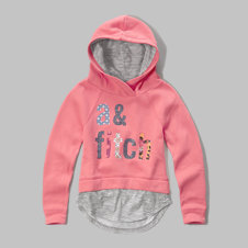 girls layered logo graphic hoodie